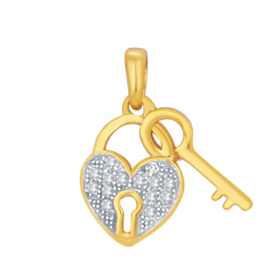 "10K 0.05CT D-PENDANT LDS RDS MP ""LOCK WITH KEY"""