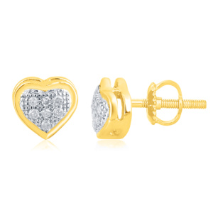 """10K 0.05CT D-EARRINGS LDS RDS MP """" HEART DOME"""""""