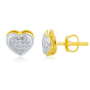 """10K 0.10CT D-EARRINGS LDS RDS MP """" HEART DOME"""""""