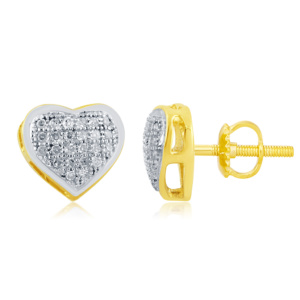 """10K 0.15CT D-EARRINGS LDS RDS MP """" HEART DOME"""""""