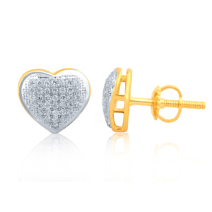 """10K 0.30CT D-EARRINGS LDS RDS MP """" HEART DOME"""""""