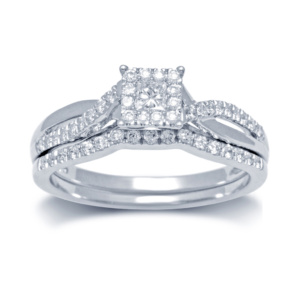 14K 0.49-0.57CT D-BRIDAL SET PCT/RDS CNTR 0.12CT