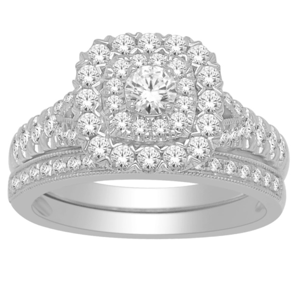 14K 1.00CT D-BRIDAL SET RDS CERTIFIED CNTR 0.20CT